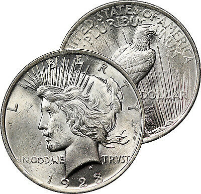 1923 Peace Dollar Silver Coin Mint State Choice Brilliant Uncirculated