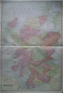 1902 Scotland Large 2-pg. Color Map** indexed w/ Pop.