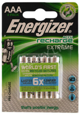 Genuine Energizer Extreme AAA Pre Charged Rechargeable Battery 800 mAh [4 Pack]
