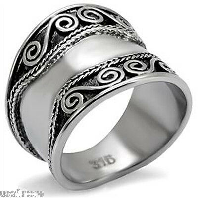 Wide Classic Antique Inspired Decorated Silver Stainless Steel Ladies Ring New