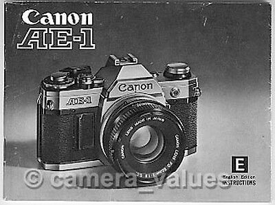 Canon AE-1 Instruction Book, More Original Camera Manuals & User Guides Listed