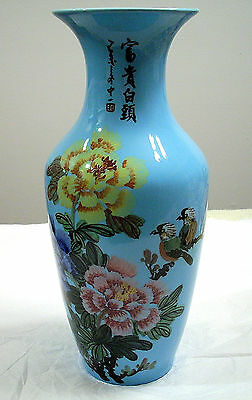 Chinese Porcelain Vase With Birds And Flowers Hand Painted 17-Inches Tall