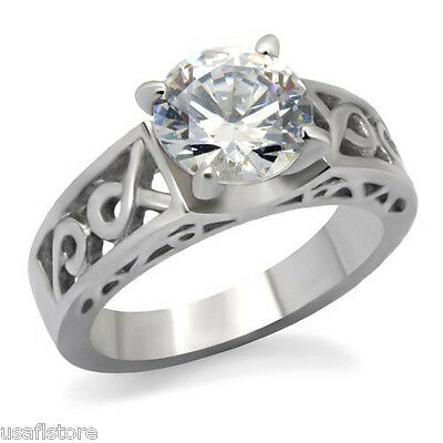 4ct Round Cut Clear CZ Stone Classic Silver Stainless Steel Ladies Ring New