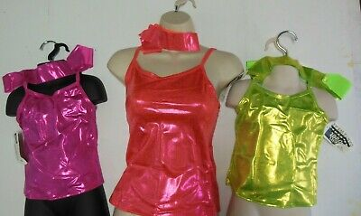 NWT DANCE TOP CAMISOLE CHILD ADULT COLORS  FOIL Metallic Spandex Wolff Fording