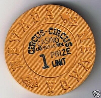 Circus Circus Hotel Casino One Prize Unit Chip Vegas