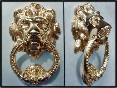 Large BOLD Polished Brass LION HEAD DOOR KNOCKER New