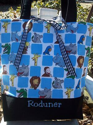 CUSTOM CURIOUS GEORGE ZOO FABRIC DIAPER TOTE bag SSCD
