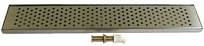 "Draft Beer Drip Trap 30"" x 5 1/4"" with 4"" metal drain - s.s. grill - DT30SS -"