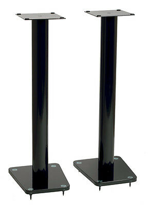 "TransDeco 32"" High Speaker Stands Glass / Steel in High Gloss Black - Pair NEW"