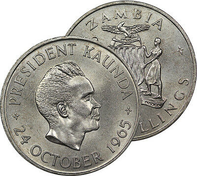 1965 Zambia 5 Shillings Coin Choice Bu