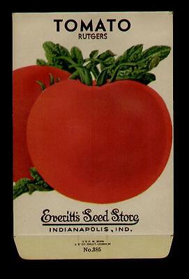 1940's TOMATO RUTGERS LITHO SEED PACKET- EVERITT'S SEED, INDIANAPOLIS,IND