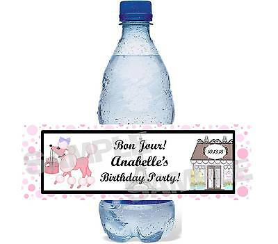 FRENCH PINK POODLE IN PARIS Birthday Party water bottle label wrapper FAVOR