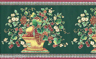 Victorian Fruit Bowl Basket Green Leaf Red Grape Berry Kitchen Wall paper Border