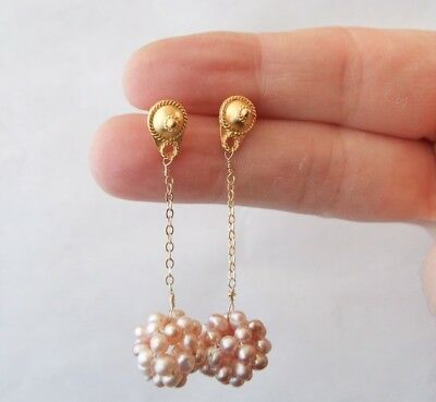 18k Yellow Gold Vermeil Classical Studs with Peach Pearl Cluster Dangles