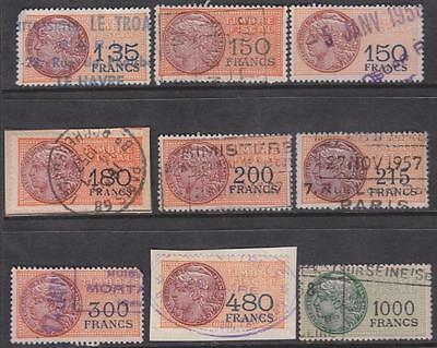 France Timbre Fiscal Revenues Yvert #TF289//308 used 9 diff 1948 cv $68