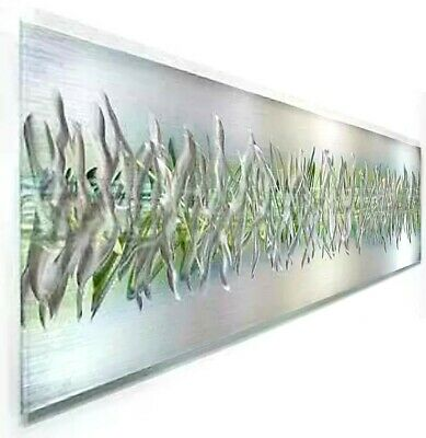 modern abstract painting metal wall art sculpture green array by