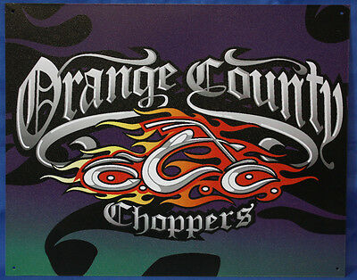 """ORANGE COUNTY CHOPPERS METAL SIGN 12""""X15"""" RETRO LOOK GREAT FOR MAN CAVE OR SHOP"""