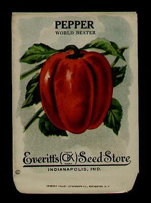1910's RED PEPPER LITHO SEED PACKET EVERITT'S SEED CO., INDIANAPOLIS,IND