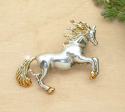 Horse Jewellery Jewelry - Shiny Two Tone Horse Brooch Or Pendant