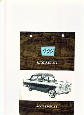 BMC WOLSELEY 6/99 ACCESSORIES SALES BROCHURE LATE 50's