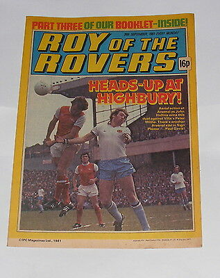 Roy Of The Rovers Comic 26Th September 1981 Paul Davis Of Arsenal
