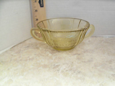 DEPRESSION GLASS MADRID CREAM SOUP DOUBLE HANDLED YELLOW