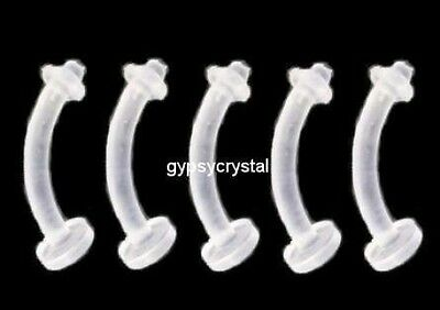 5 Eyebrow or Belly Retainer Bars 14g 8mm Flexi