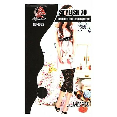 Womens Fashion Pattern Lace Cuff Footless Tights/ Stockings/ Leggings BNWT- OSFA