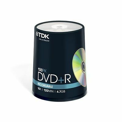 100 TDK DVD+R DVDS Disc 4.7Gb 16X 120Min Discs In Spindle