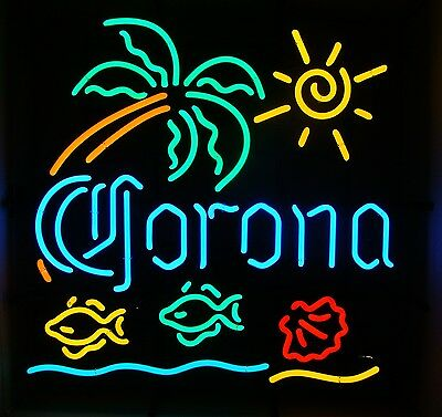 "Corona Extra Palm Tree Tropical Fish 6 Color 23"" X 23"" Neon Sign New"