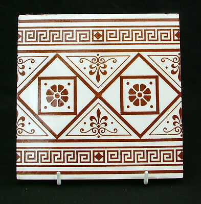 Victorian aesthetic printed brown on white tile