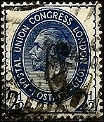 George V Postal Union 2 1/2p Stamp G.B. Used