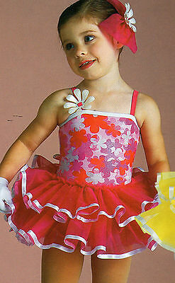 NWT Ruffled Dance Costume foil floral ribbon trimmed Child extra small 2-4 girls