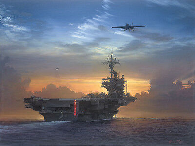 """""""Sunset Recovery"""" William S. Phillips USS Kitty Hawk Limited Edition Print"""