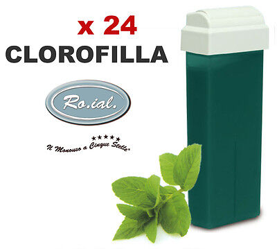 24 ricariche cera CLOROFILLA 100ml ROIAL cartucce roll-on ceretta rullo manipolo