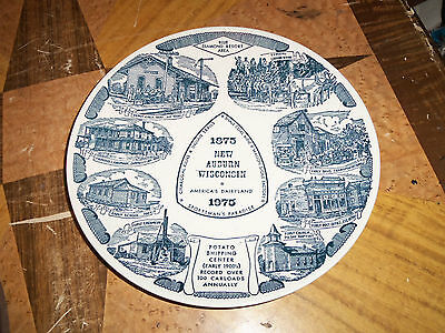 "Collector Plate New Auburn Wisconsin 1875 1975  10 1/8"" Across Sportsman's Parad"