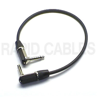 """20"""" Guitar FX Patch Lead Pro Quality 90deg Right Angle 1/4"""" Mono Jack Cable 0.5m"""