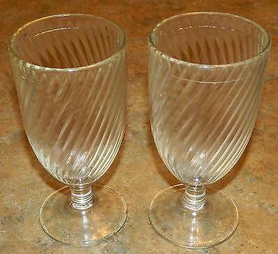 Lot of 2 vintage FEDERAL Footed Stemware Glass - Swirl Pattern