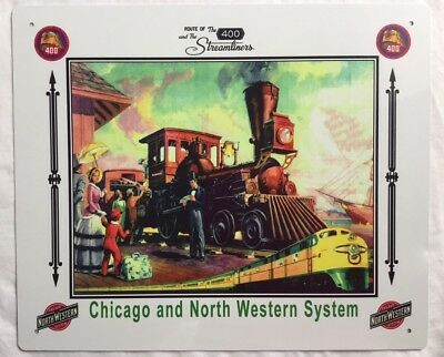 Chicago And North Western System #1 Railroad Tin Sign