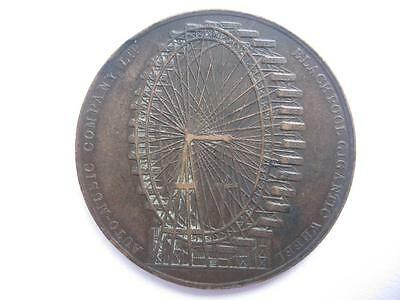 Blackpool Gigantic Wheel medal in bronze. Rare.