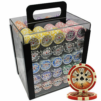 1000 14 G High Roller Clay Poker Chips Set Acrylic Case