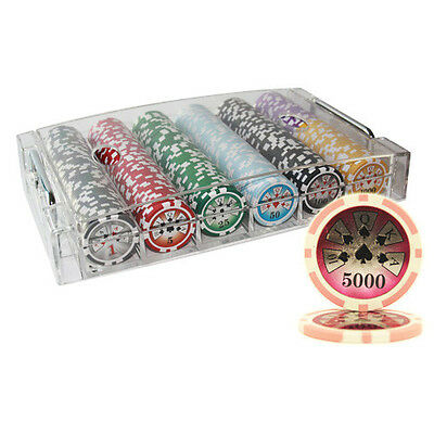 300Pcs 14G High Roller Casino Table Clay Poker Chips Set Acrylic Case
