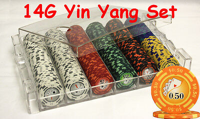 300 14G Yin Yang Casino Clay Poker Chips Set Acrylic Case