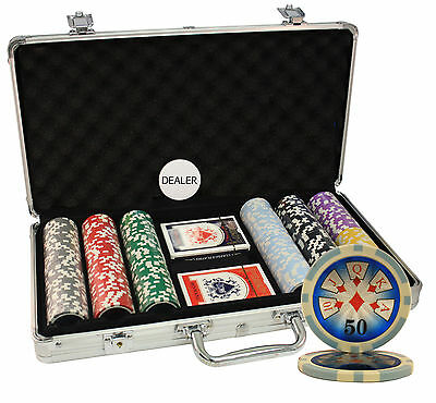 300Pcs 14G High Roller Casino Table Clay Poker Chips Set