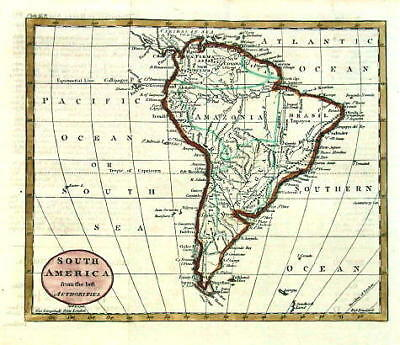 ANTIQUE MAP - SOUTH AMERICA - Guthrie -1795