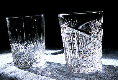 Two Cut Glass Tumblers,1 In  Diamond Fan Pattern And 1 Libbey Signed Tumbler