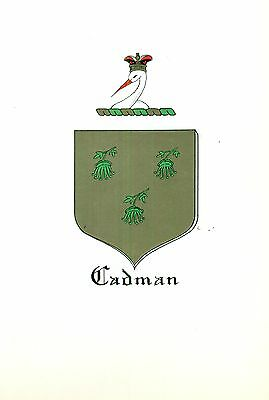 Great Coat of Arms Cadman Family Crest genealogy, would look great framed!
