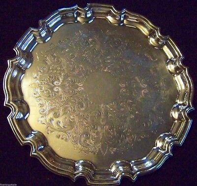 Vintage English Silver - Chippendale Chased Sheffield Silver Salver Tray - Super