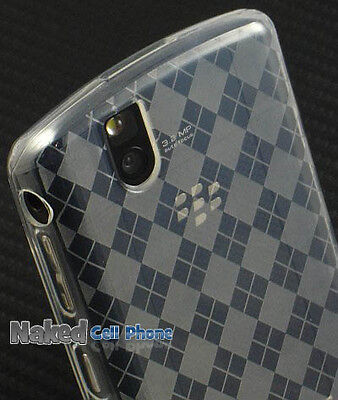 NEW CLEAR FROST PLAID TPU CANDY SKIN CASE FOR BLACKBERRY TOUR 9630 BOLD 9650