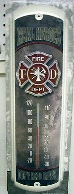 """NEW FIREMEN REAL HEROES DON'T NEED CAPES METAL THERMOMETER 17"""" x 5"""" - FREE SHIP*"""
